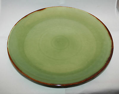 Jenggala Keramik Bali Green Khaki Brown Large Dinner Serving Plate Dish ( A )