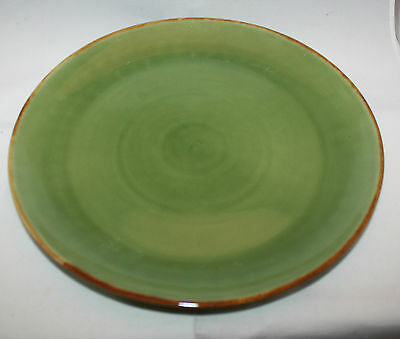 Jenggala Keramik Bali Green Khaki Brown Large Dinner Serving Plate Dish ( B )