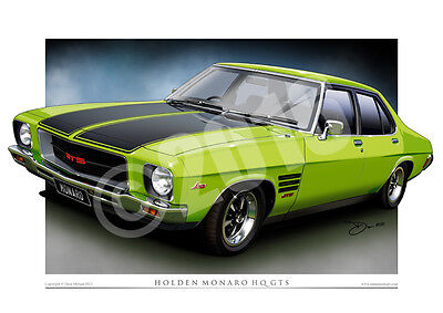 Holden HQ Monaro Art Print  - Classic HQ GTS Car Drawing ( 27 Colours )
