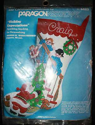 """PARAGON 18"""" Sparkling Stocking for Personalizing """"Holiday Expectations"""" NEW 1978"""