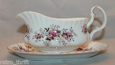 Royal Albert Bone China Lavender Rose Gravy Boat Underplate England Flower White