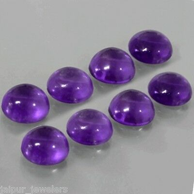 8 Pcs WHOLESALE LOT OF 8x8mm ROUND CABOCHON NATURAL AFRICAN AMETHYST GEMSTONE
