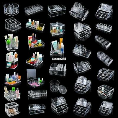 cosmetic makeup jewelry lipstick brush ring clear acrylic case organizer drawers