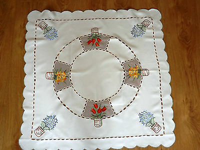 "Vintage Machine Embroidered Easter Table Cloth 32"" By 32"" Spring Flowers"