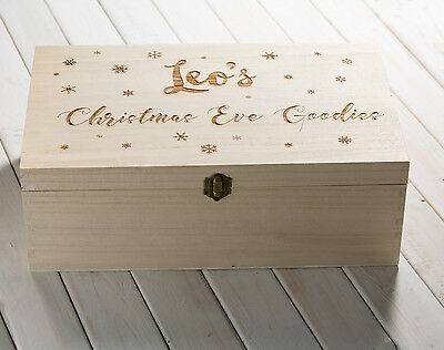 Beautiful Personalised Engraved Wooden Christmas Eve Treats Box Snowflakes