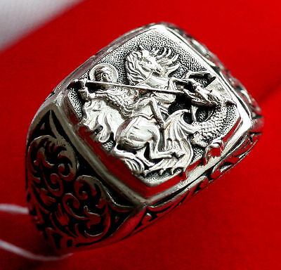 Saint George Warior Patron Protective Silver 925 Prayer Ring Russian Orthodox
