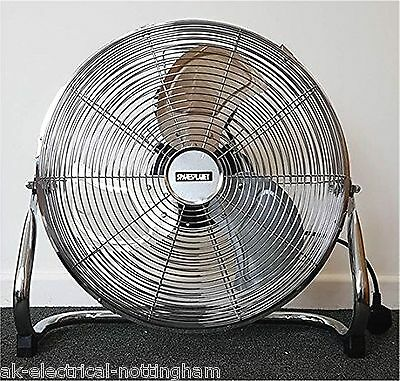 """16"""" Floor Fan Free Standing Portable 3 Speed Chrome High Velocity Industrial Gym"""