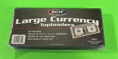 25 Large Bill Currency Toploader, Rigid, Holds 7-9/16 X 3-1/4 Currency