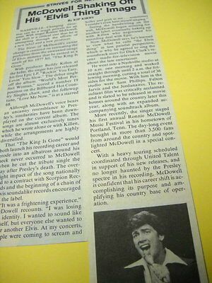 RONNIE McDOWELL shakes off Elvis Thing detailed 1979 music biz promo article/pic