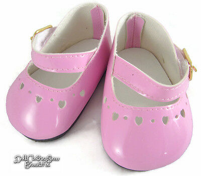 72mm PINK Patent Heart Doll Shoes Factory Seconds - See Desc