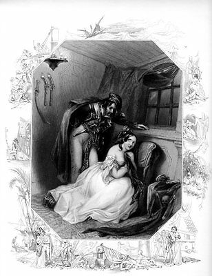 PIRATE & BEAUTIFUL WOMAN 1800s SCARCE Old VICTORIAN Antique Art Print Engraving