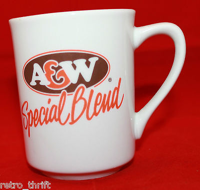 A&W Special Blend White Logo Coffee Tea Mug Cup Made in China French English