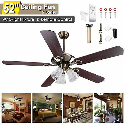 """52"""" Traditional Bronze Finish Ceiling Fan Light Kit w/ Reversible Remote Control"""