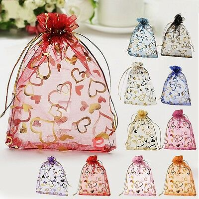100pcs Jewelry Candy Organza Pouch Bags Wedding Party Favor Gift 10*12mm