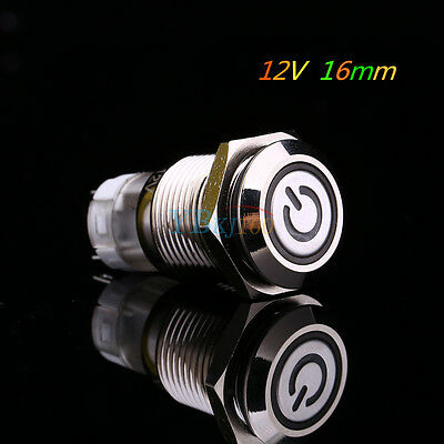1x Car Vehicle 12V 16mm Metal White LED Power Push Button Switch Latching Type