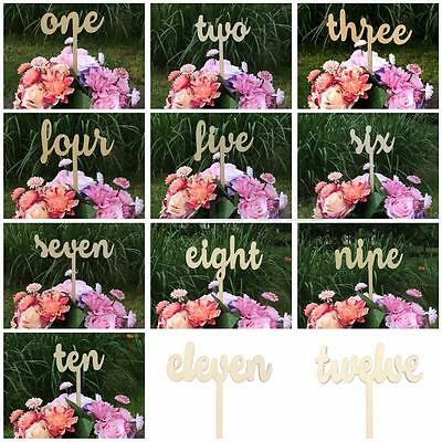 Vintage 1-12/Set Wooden Wedding Birthday Party Table Numbers Stick Base Stand