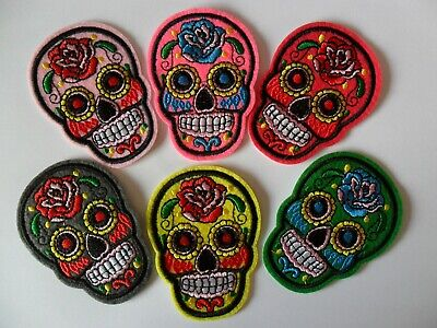 Iron/Sew On - SUGAR SKULL / DAY OF THE DEAD - Motif/Patch/Applique - 10 Colours