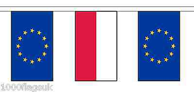 Poland & European Union Polyester Flag Bunting - 10m with 28 Flags