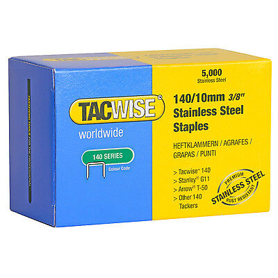 Tacwise 0477 140/10mm Stainless Steel Staples (5,000) Fits Rapesco Arrow Stanley