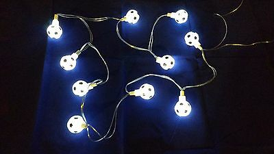 Boys Bedroom Battery Operated WHITE Football LED Light Lamp Festoon String NEW