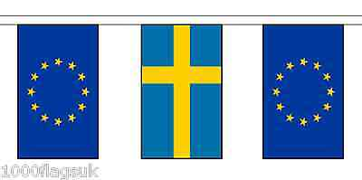 Sweden & European Union Polyester Flag Bunting - 20m with 56 Flags
