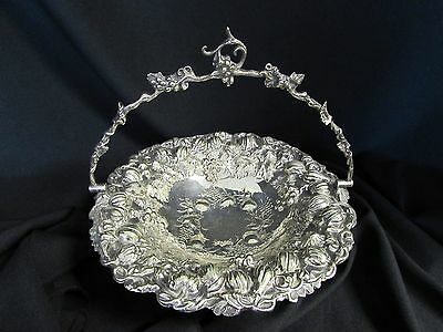 1800's VICTORIAN SILVER PLATE EMBOSSED FRUIT BASKET