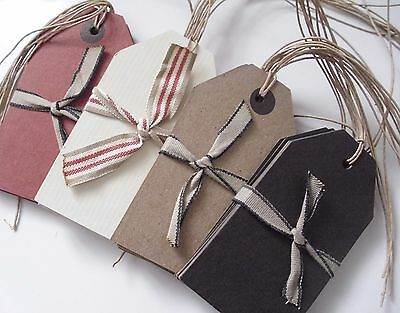 Luggage Label Gift Tags x 6 Brown Black Red Ivory East of India