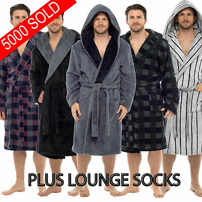 Mens Deluxe Luxury Dressing Gown Robe Bathrobe  Warm Fleece Hooded + COSY SOCK