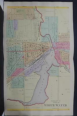 Wisconsin, Walworth County Map 1891 City of Whitewater, 3 Double Page Maps N2#90