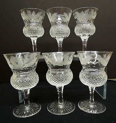 """Set of 6 Signed Edinburgh Thistle 4 3/8"""" Wines or Clarets, Perfect Condition"""