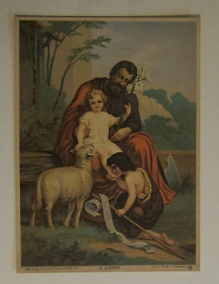 Saint Joseph with Jesus and Sheep Herder religious print