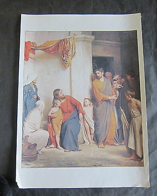 Christ blessing little children by Carl Bloch - vintage poster print