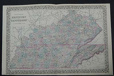 Antique Map, 1879, United States, Kentucky & Tennessee Z1#54