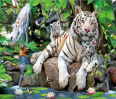 White Tiger Family In Jungle Waterfall  Computer Mouse Pad 9 X 7