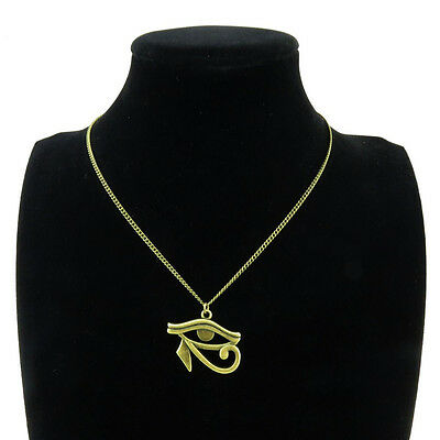 New Bronze Egyptian Eye of Horus Ra Amulet Pendant Choker Short Necklace 18""