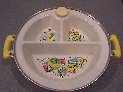 Vintage Excello Divided Feeding Dish Bowl Metal Food Warmer Baby Plate Toys