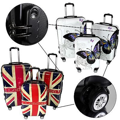 Bagages Ensemble Valise de voyage Papillon+Angleterre Chariot Hardshell valise
