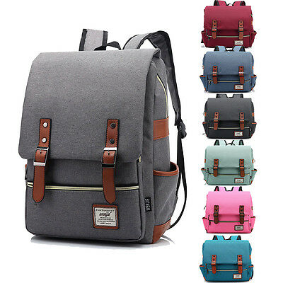 Men's Canvas Backpack School Laptop Travel Rucksack Satchel Fashion Shoulder Bag