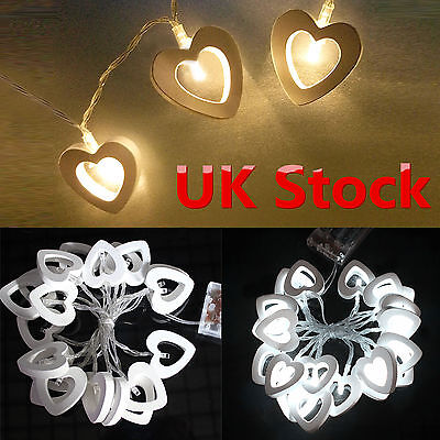 10/20 LED Wooden Heart Battery Operated String Fairy Light Party Xmas Lamp Decor