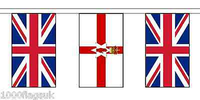 Northern Ireland & United Kingdom Polyester Flag Bunting - 5m with 14 Flags