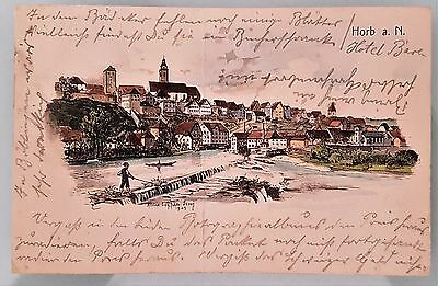 Germany 1904 Used Post Card River Side Town Colour Drawing