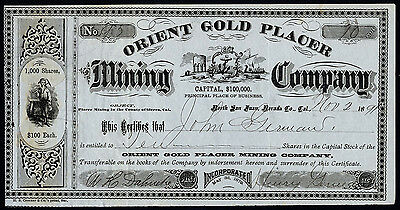California: Orient Gold Placer Mining Co., $100 shares, 1891