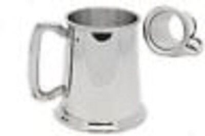 Glass Bottom Pewter Tankard with Engraving