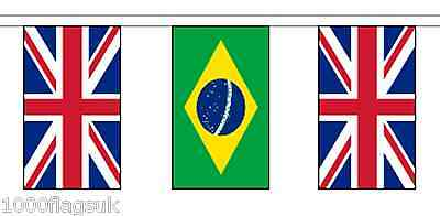 Brazil & United Kingdom UK Polyester Flag Bunting - 20m with 56 Flags