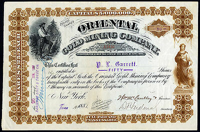 Nevada: Oriental Gold Mining Co., $25 shares, 1881