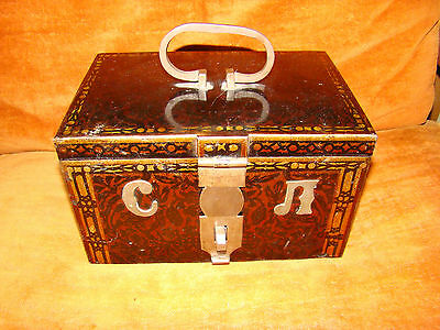 ANTIQUE RUSSIAN  POLYCHROME DECORATED METAL BOX Safe 1908