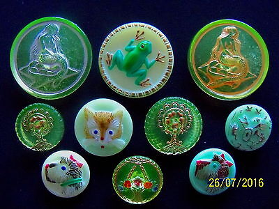 REDUCED CZECH VASELINE GLASS BUTTONS COLLECTION (10PCS)(22mm-41mm)US  UV MIX 002