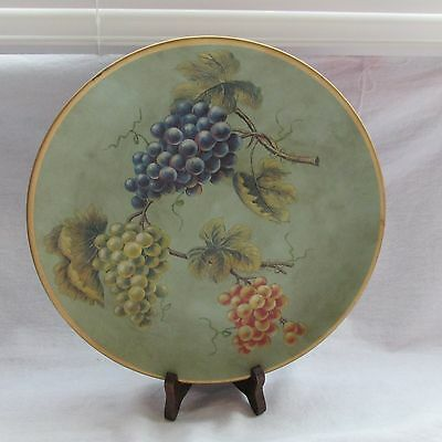Vintage Made In China Bisque Hand Painted Large Plate Grapes