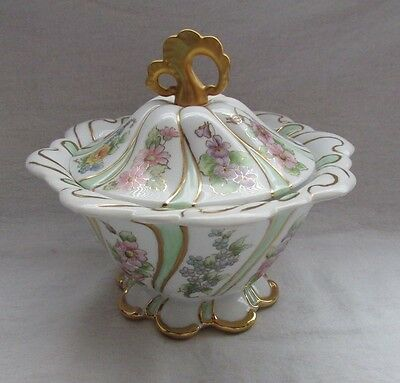 Ceramic Porcelain Gold Trim Biscuit Jar Or Cover Bowl Hand Painted Many Flowers