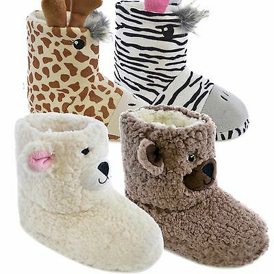 Kids Girls Boys Novelty Plush Faux Fur Animal Booties Bottee Slippers Size 9-3